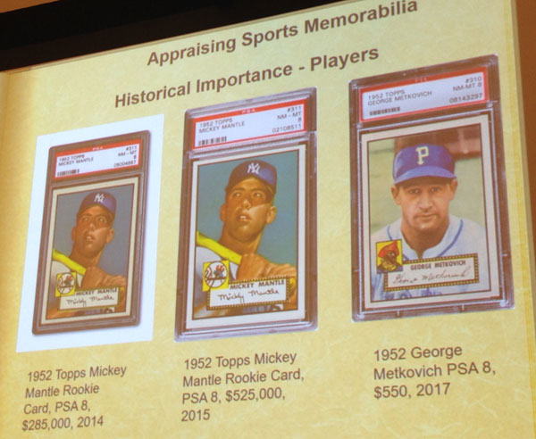 Demonstrating the difference in value between Mickey Mantle rookie cards based on their condition, contrasted with a lesser known player
