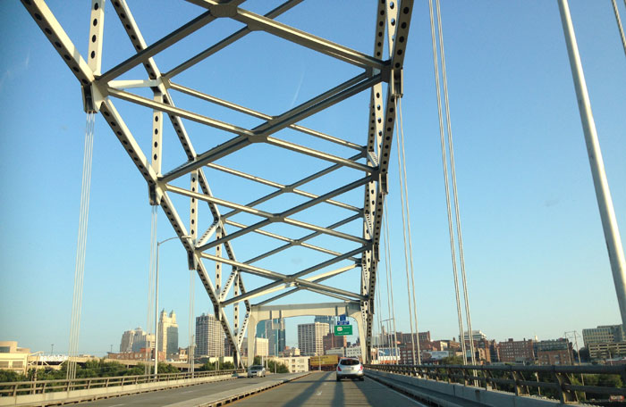 "The ""Buck"" O'Neil Bridge heading into Kansas City."