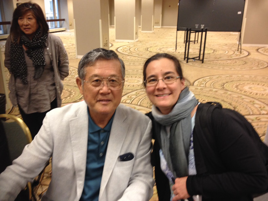 "Masanori ""Mashi"" Murakami and me. (Yuriko Gano Romer in the background) at SABR 45"